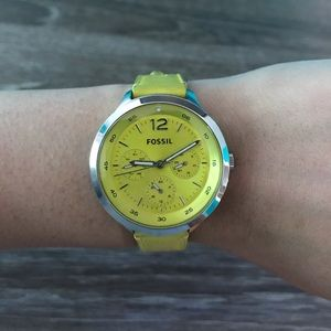 Fossil The Editor Lime Leather Watch